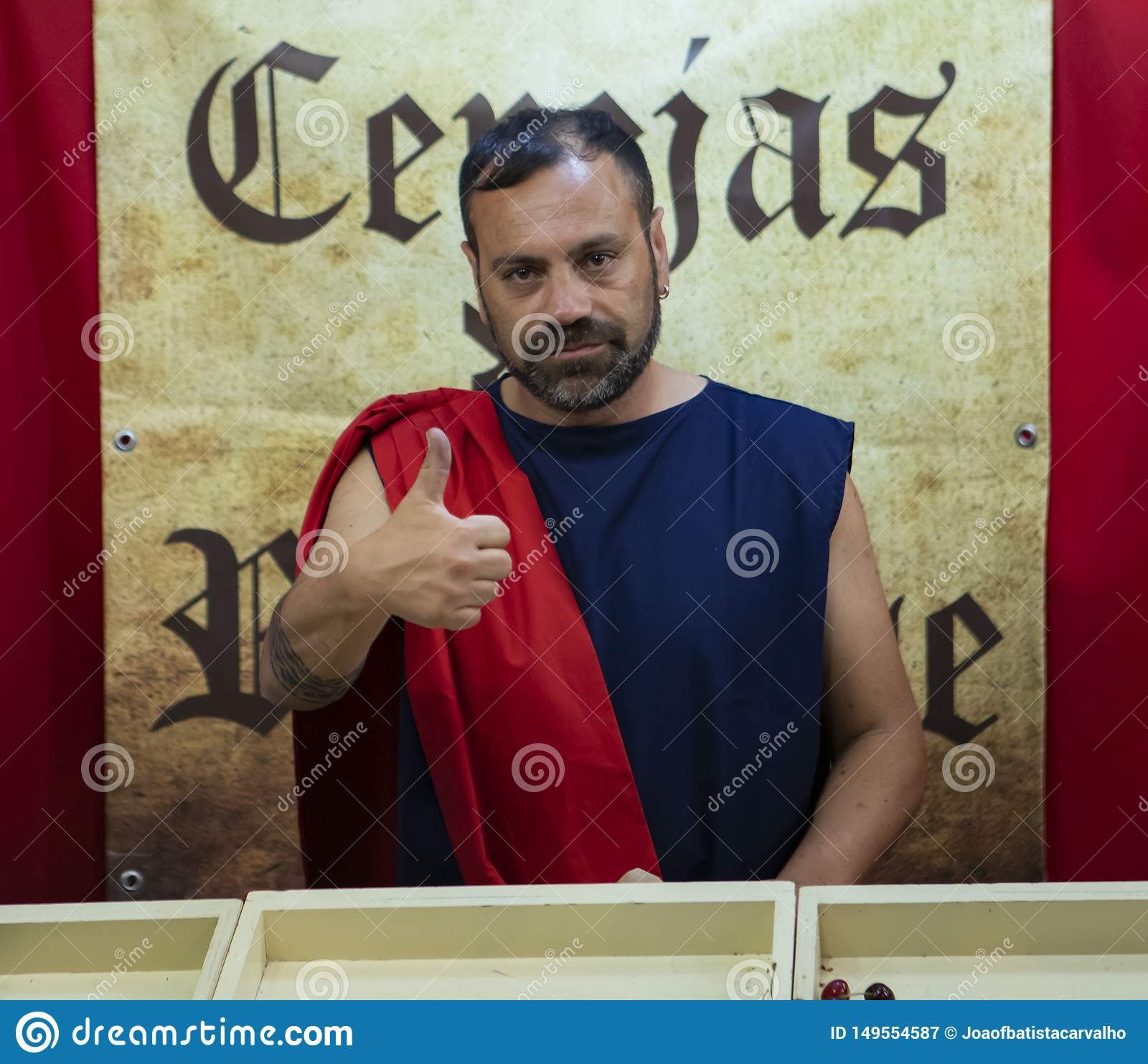 Braga, Portugal - May 24, 2019: Merchant roman man at Braga Romana