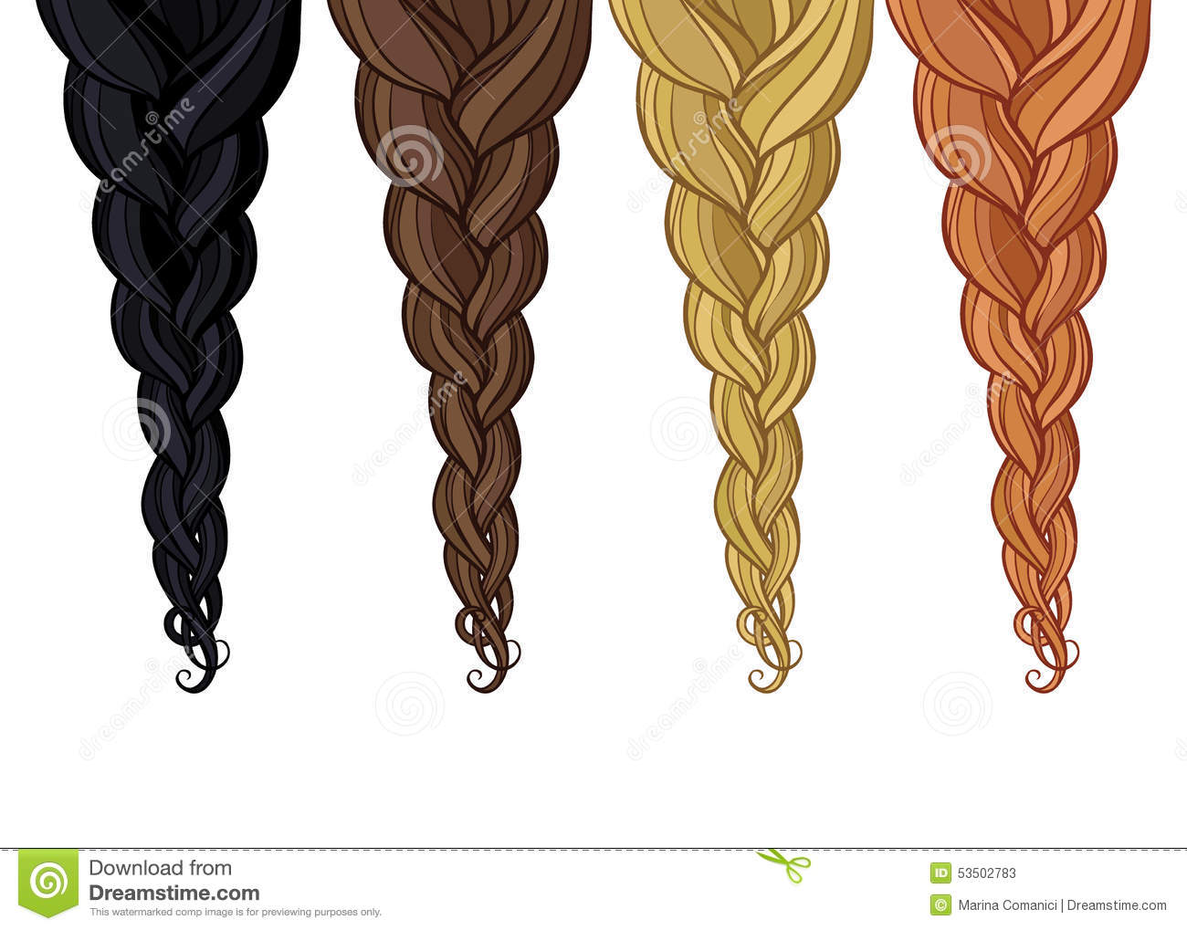 Braid Of Hair Stock Vector Image Of Bangs Curled Blond