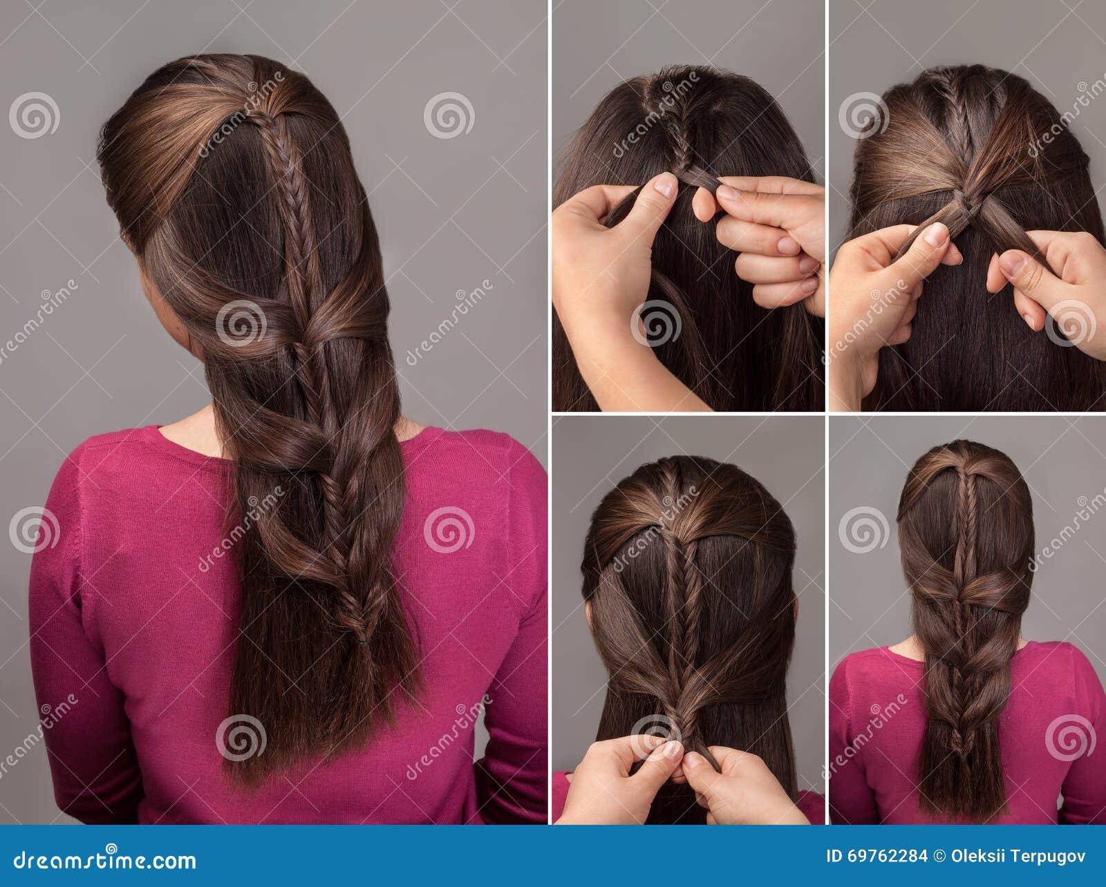 Braid Hairstyle Tutorial Stock Photo - Image: 69762284 - Fishtail Hairstyle