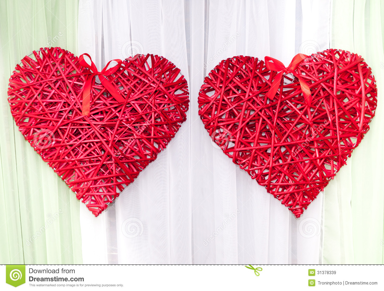 Braided red heart as a wedding decoration royalty free