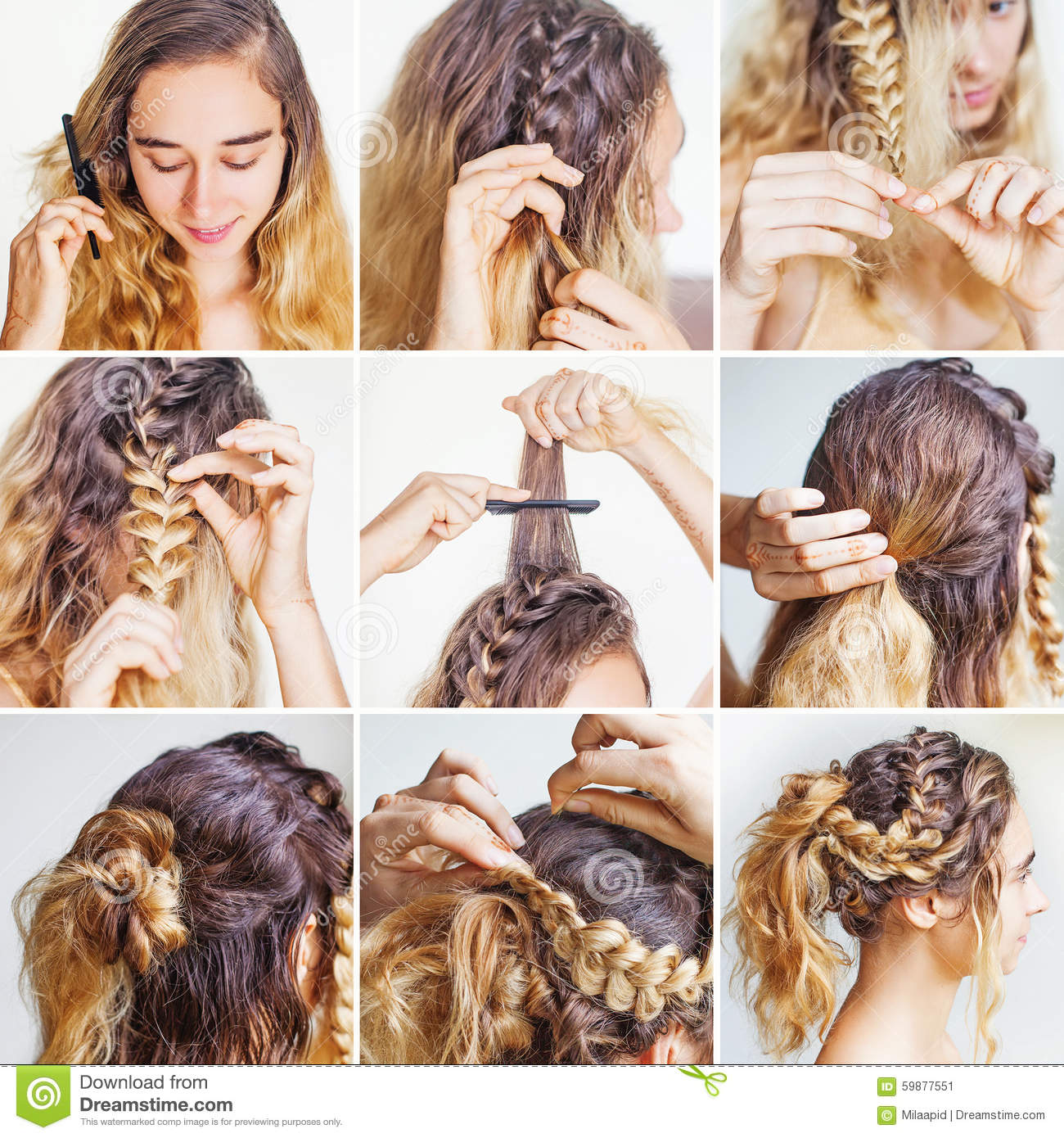 Brilliant Braided Updo Tutorial For A Curly Hair Stock Photo Image 59877551 Short Hairstyles Gunalazisus