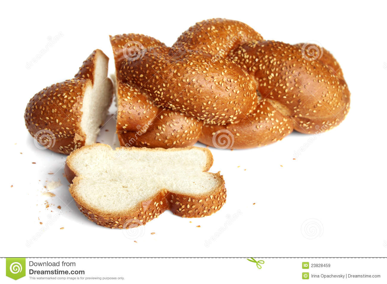 ... white bread, sprinkled with sesame seeds, isolated on white