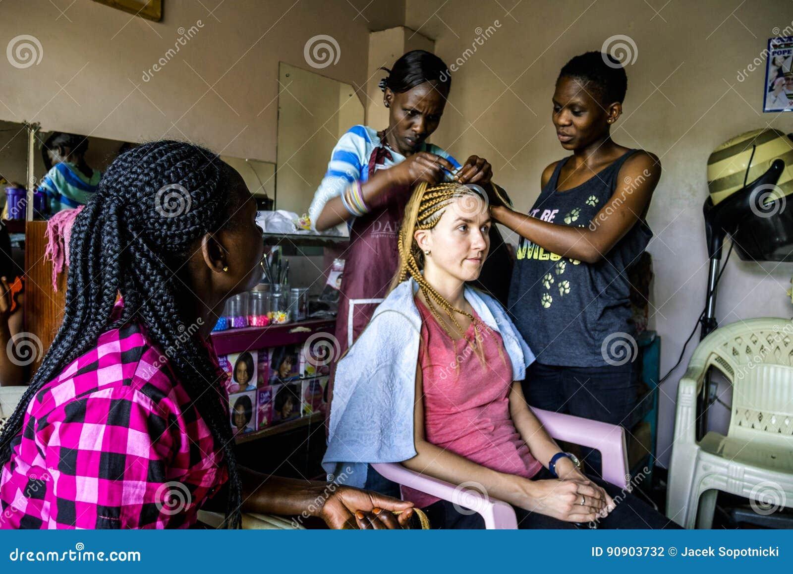 Kenyan Hairstyles Braids By Eva Nairobi Kenya: Braiding In Hairdresser Salon In Nairobi, Kenya Editorial