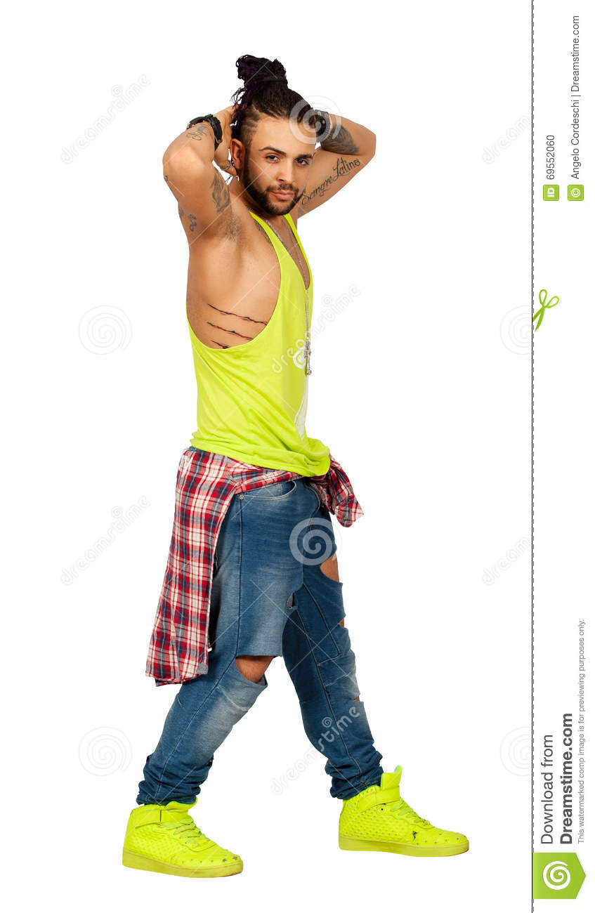 Braids hair urban style man hands behind his head. On white background. PNG available