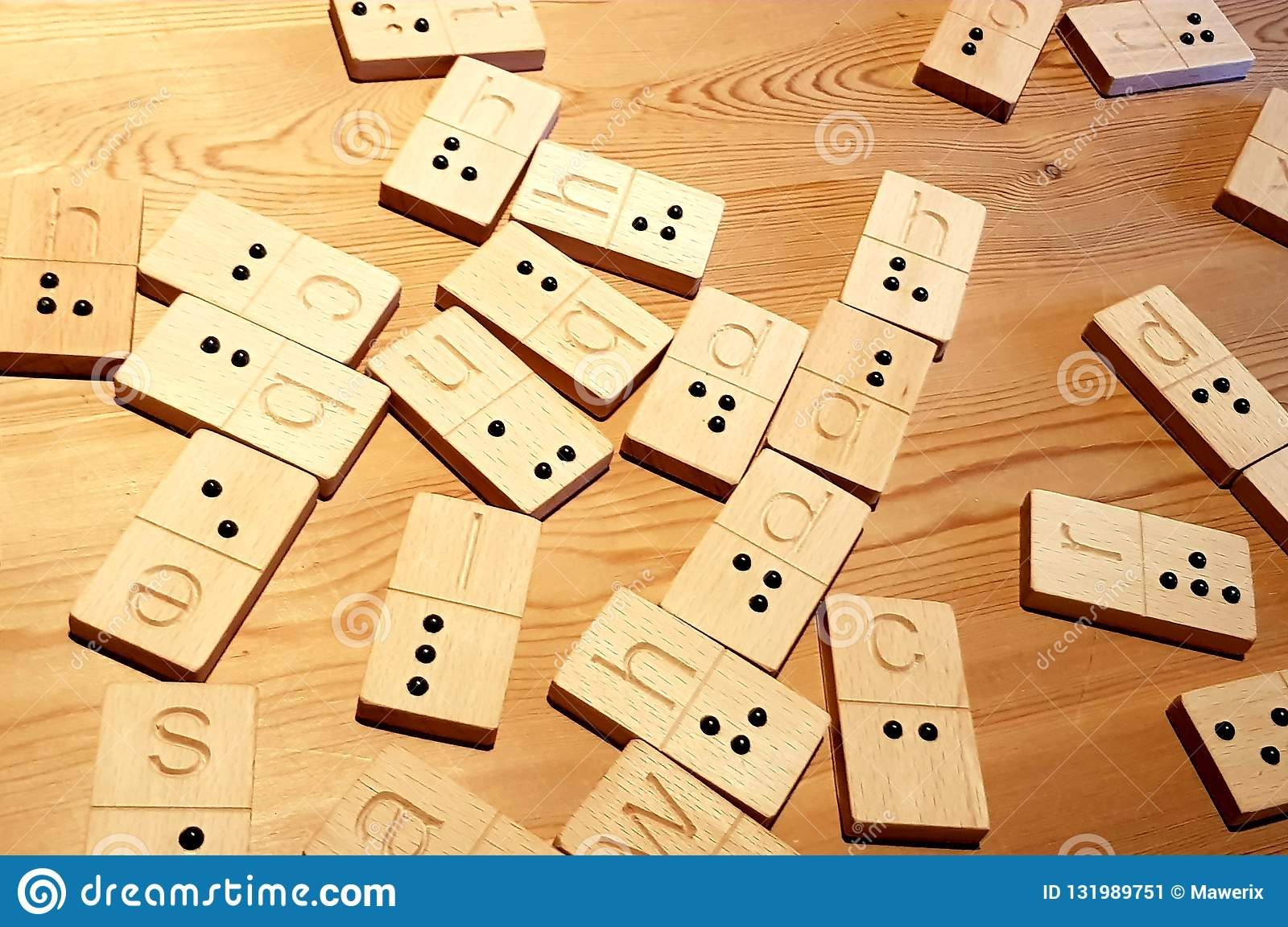 Braille Alphabet And Domino With Letters Stock Image Image Of