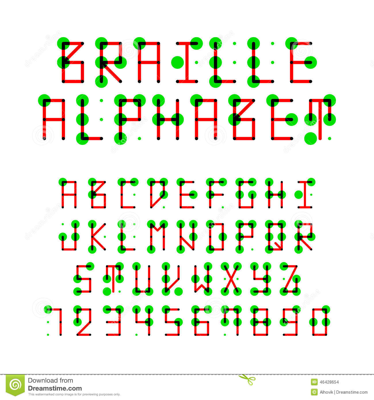 Braille Alphabet Stock Vector Image 46428654