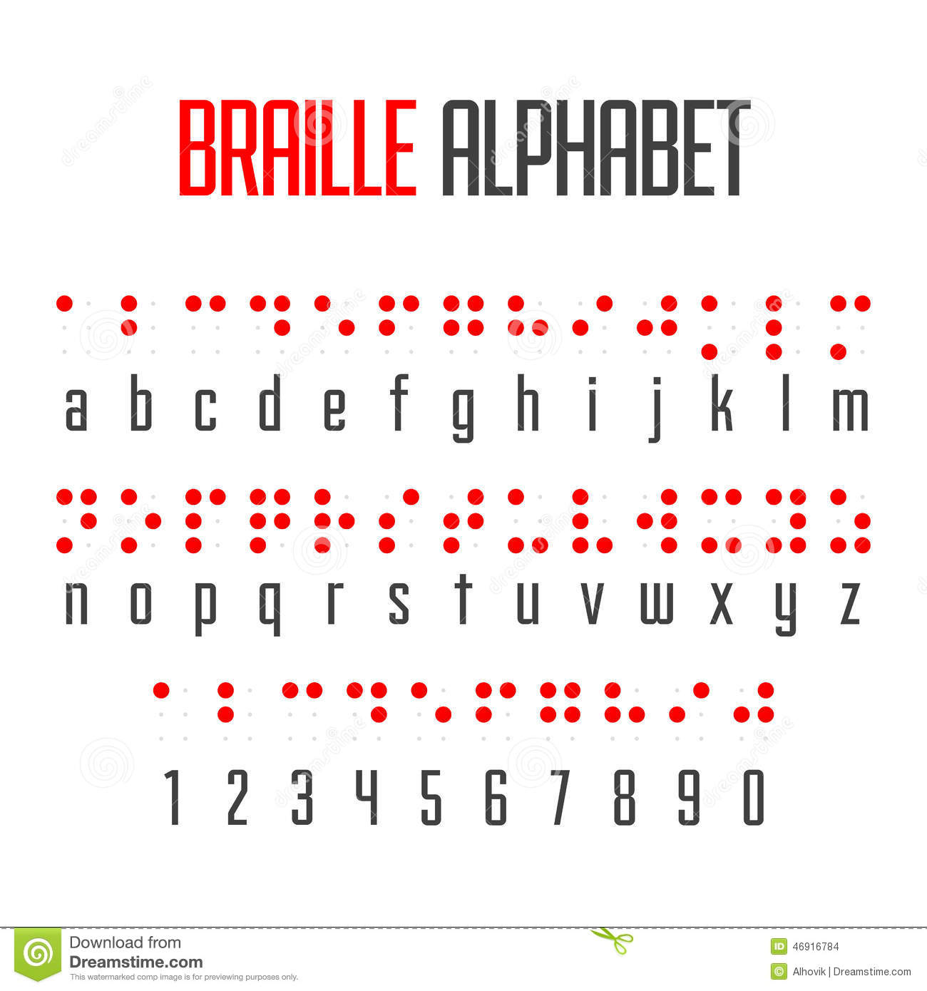 braille alphabet and numbers stock images