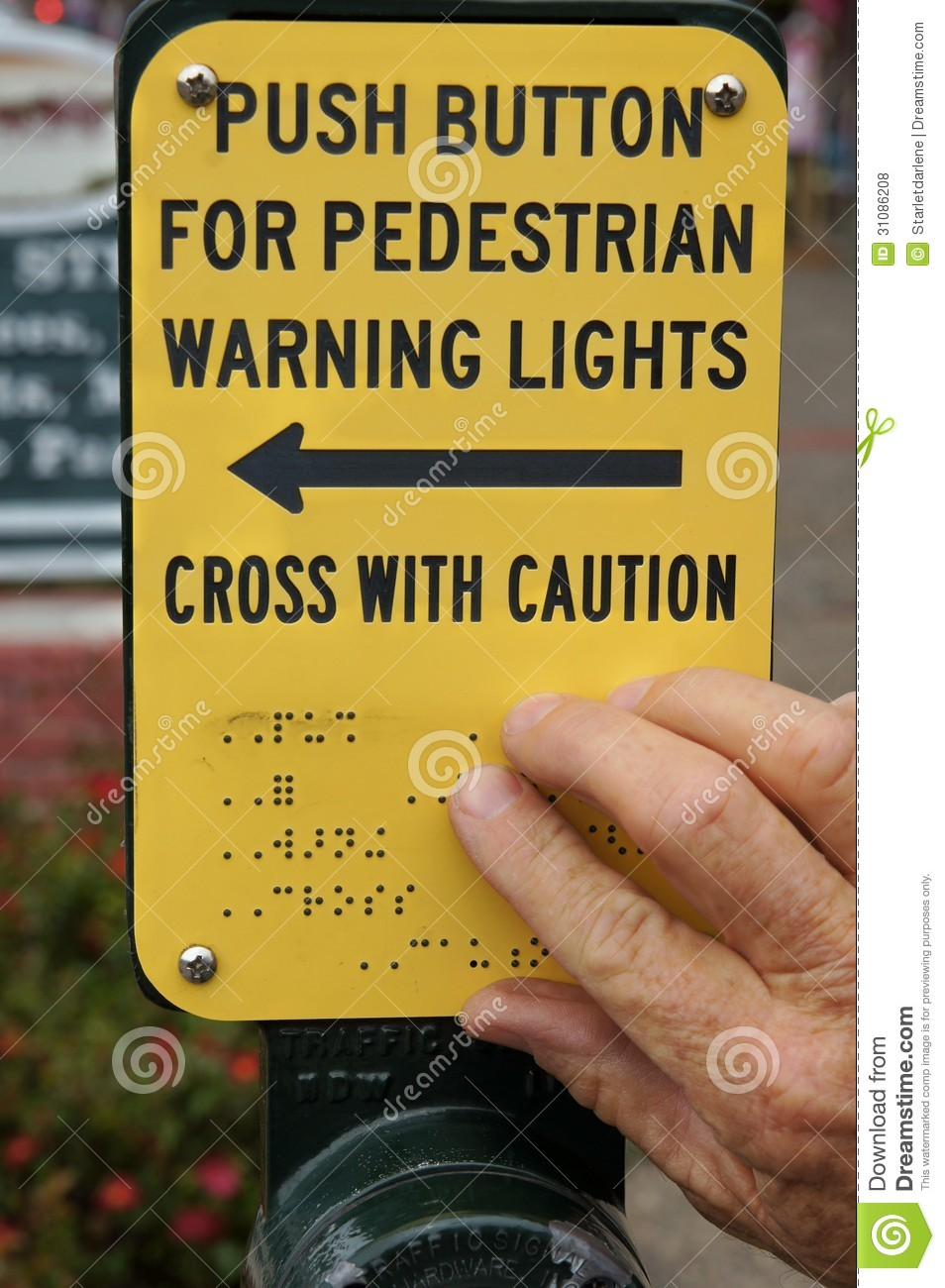 Braille Cross Walk Sign For The Blind Royalty Free Stock
