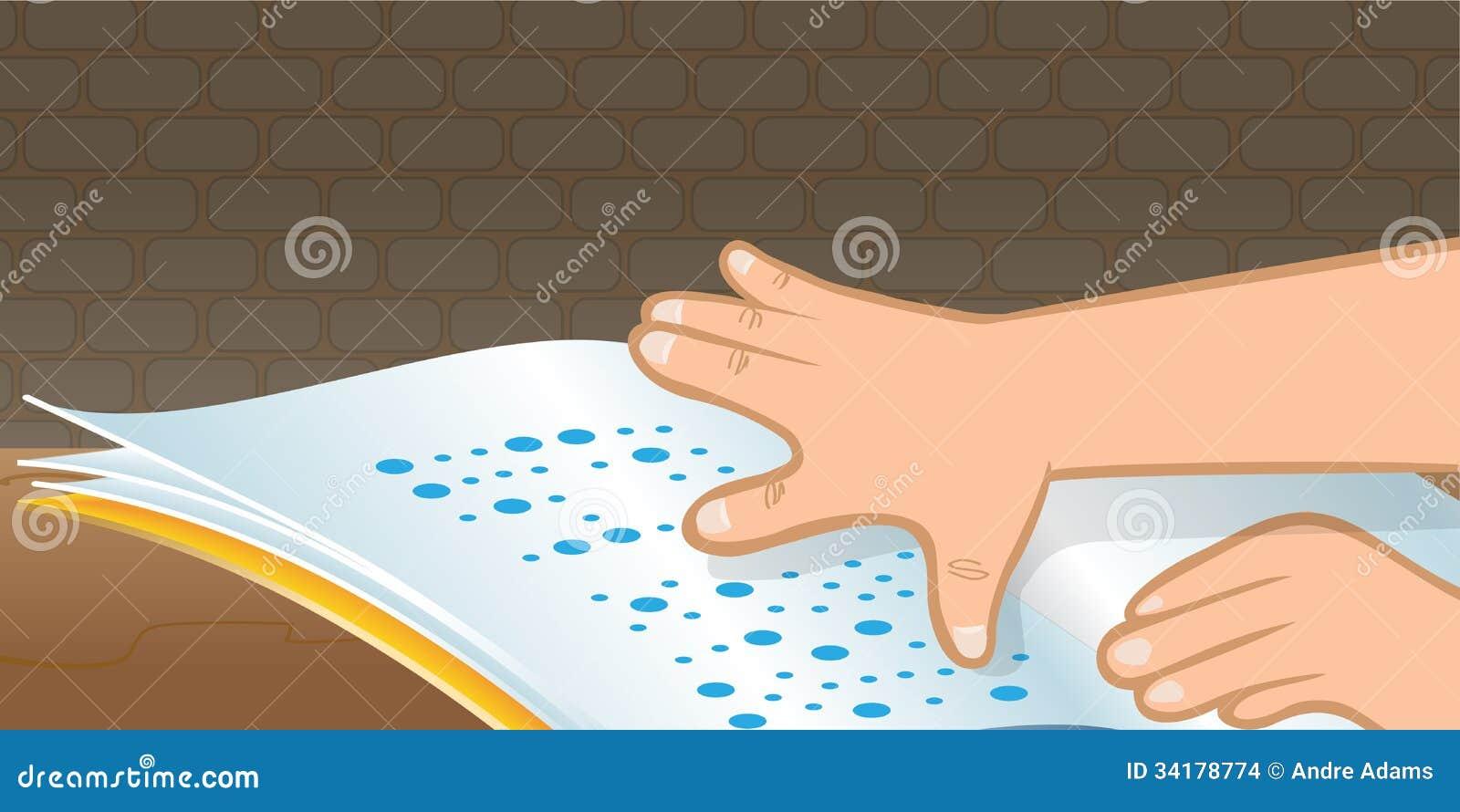 Braille Reading Stock Vector Illustration Of Hand