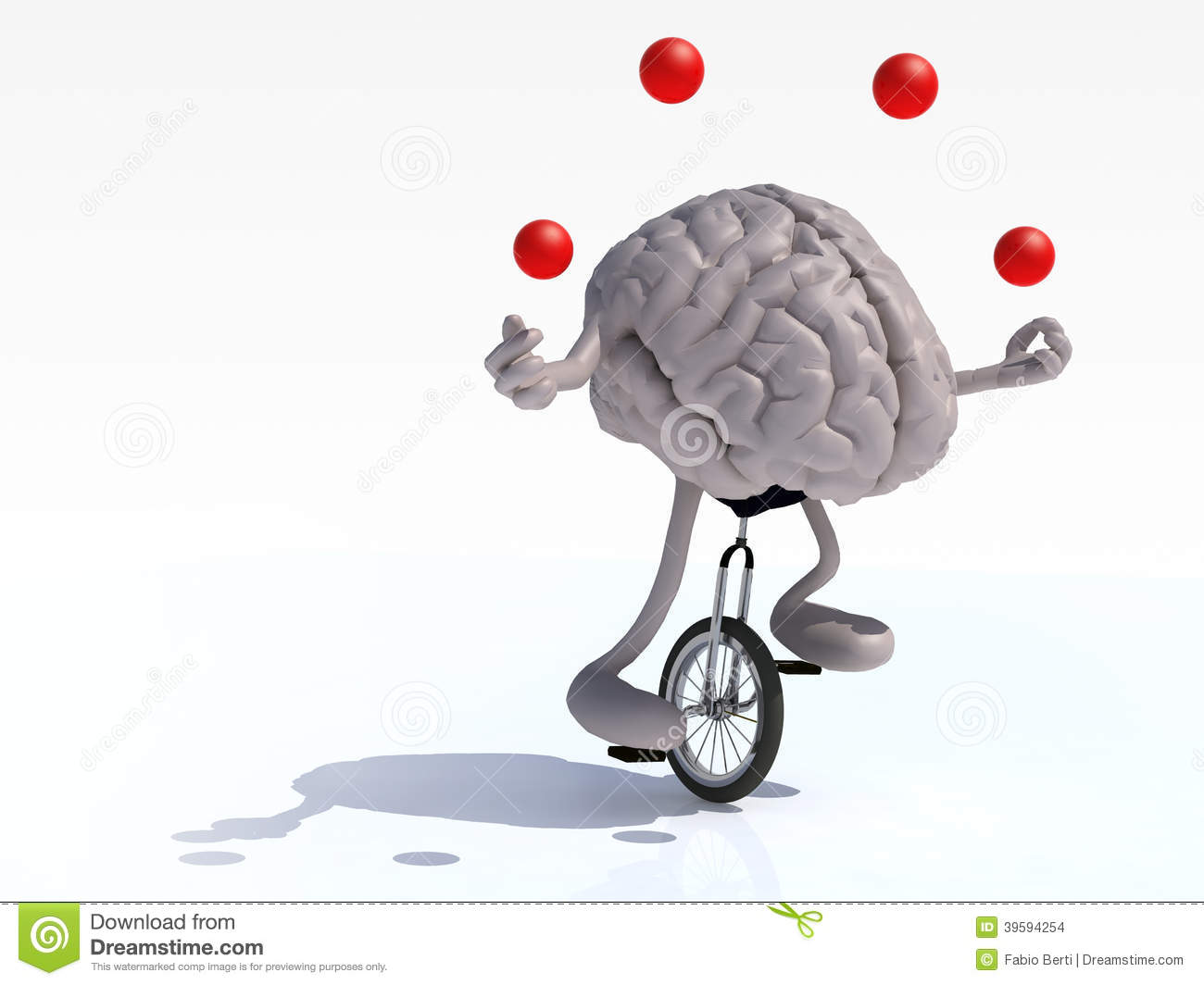Brain With Arms And Legs Juggle Rides A Unicycle Stock ... Human Head Brain Vector