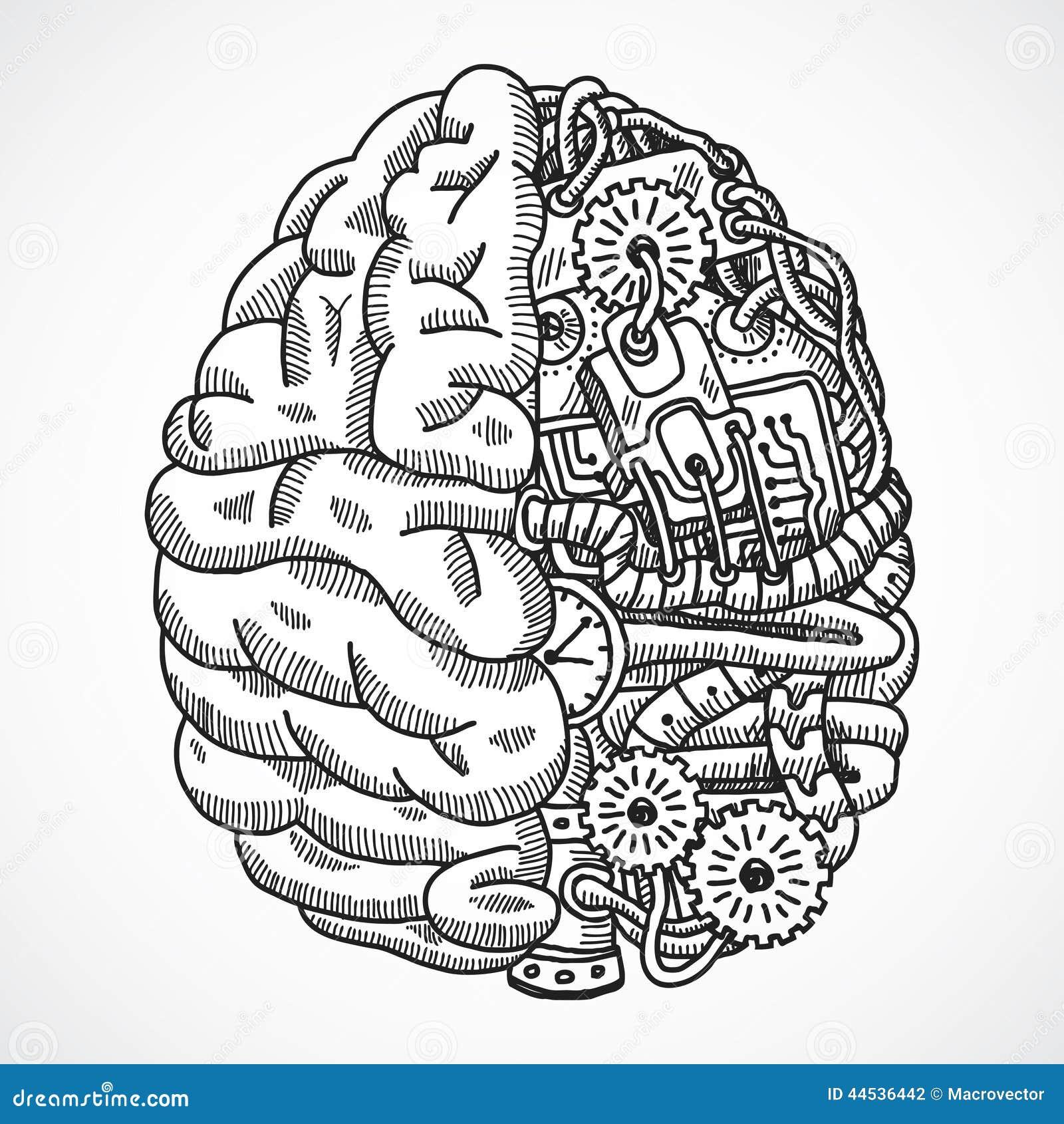 brain as processing machine stock vector
