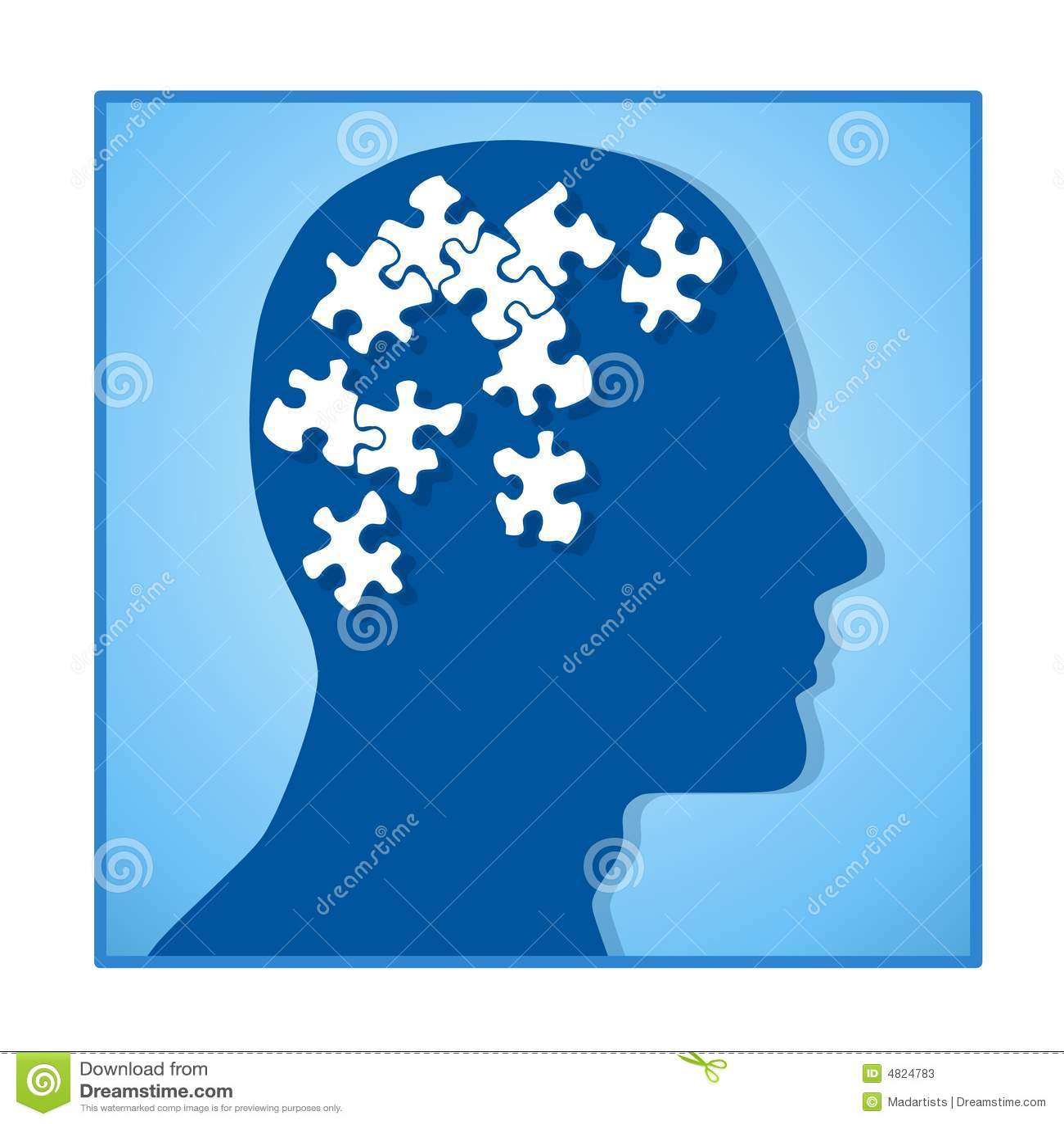 Brain as Puzzle Pieces In Head