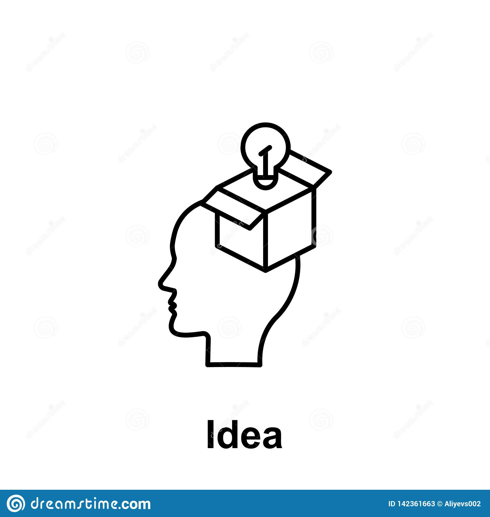 Brain, bulb, gift icon. Element of creative thinkin icon witn name. Thin line icon for website design and development, app