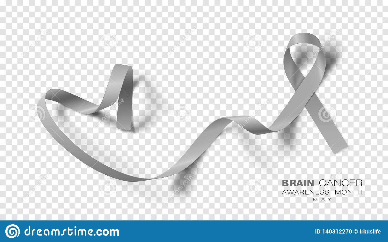 Brain Cancer Awareness Month Grey Color Ribbon Isolated On genomskinlig bakgrund Vektordesignmall för affisch