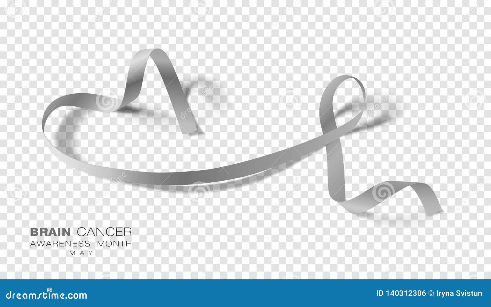 Brain Cancer Awareness Month Grey Color Ribbon Isolated On genomskinlig bakgrund Vektordesignmall för affisch