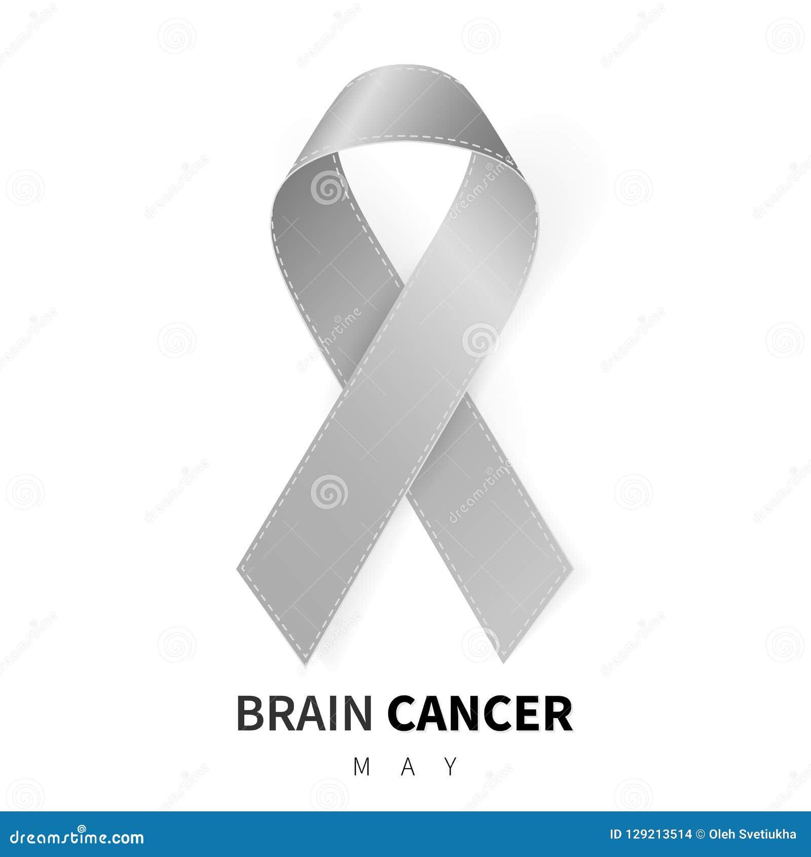 Brain Cancer Awareness Month Simbolo grigio realistico del nastro Disegno medico Illustrazione di vettore