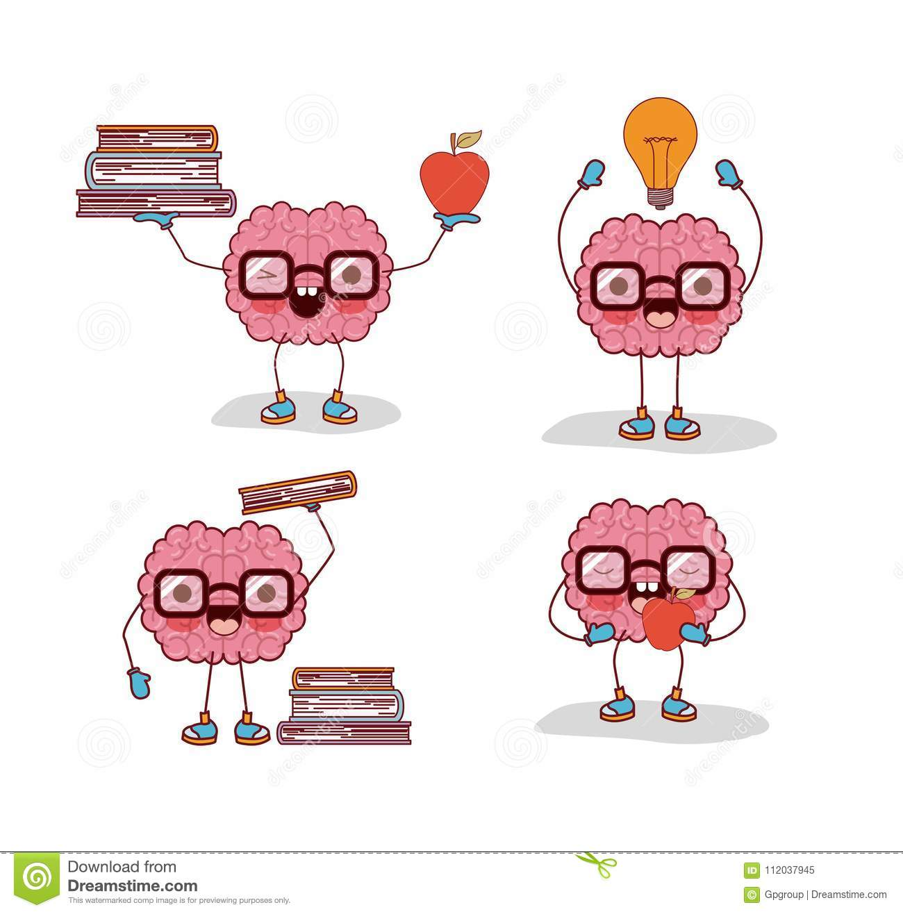 Brain Cartoon Set With Glasses And Books And Apple And Light Bulb In ...