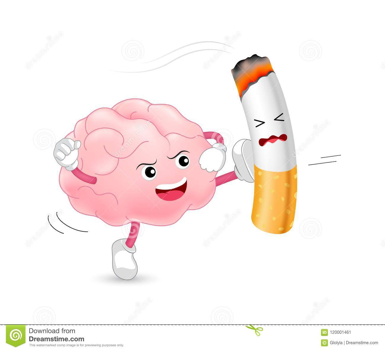 Brain Character Attacking The Cigarette  Smoking Is Harmful