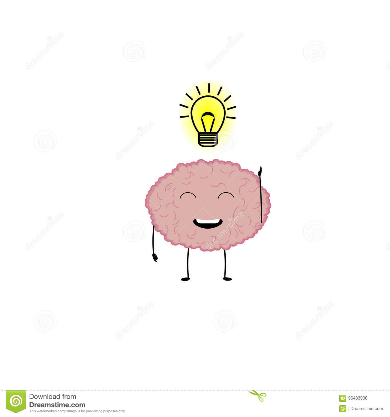 Brain Character With Bright Idea
