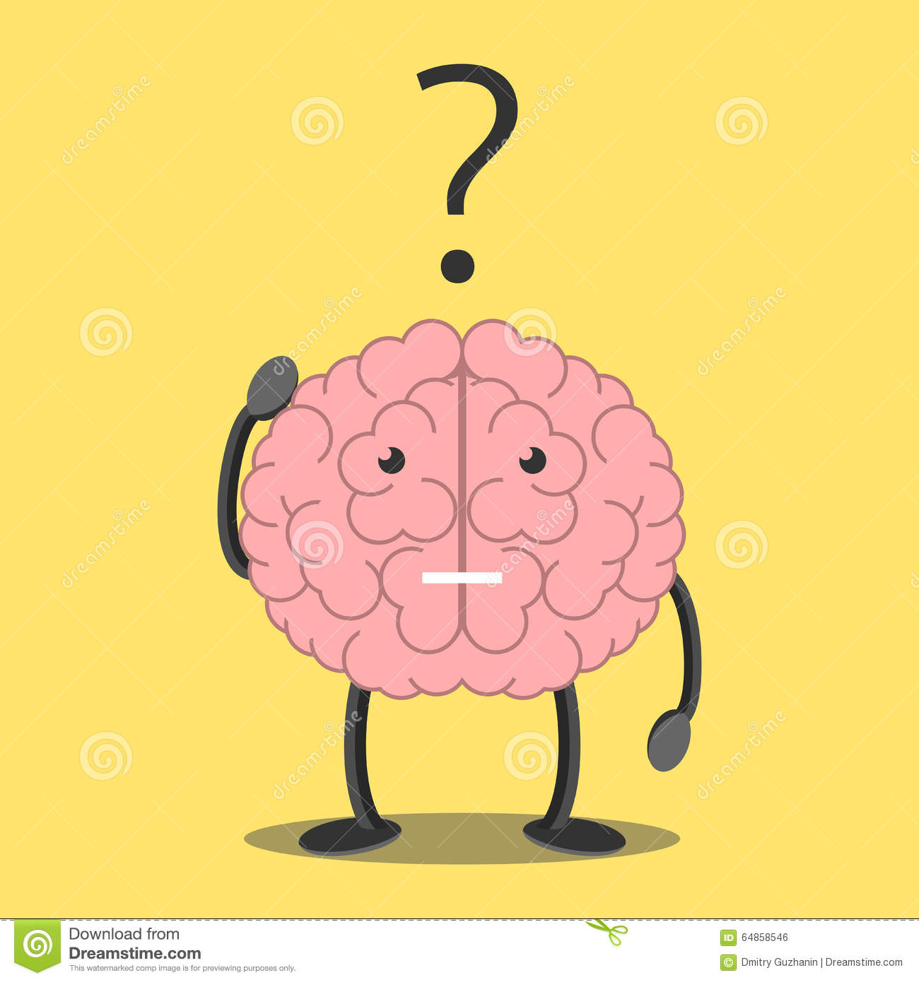 Pics photos clip art cartoon scientist with question mark stock - Brain Character Thinking Royalty Free Stock Image