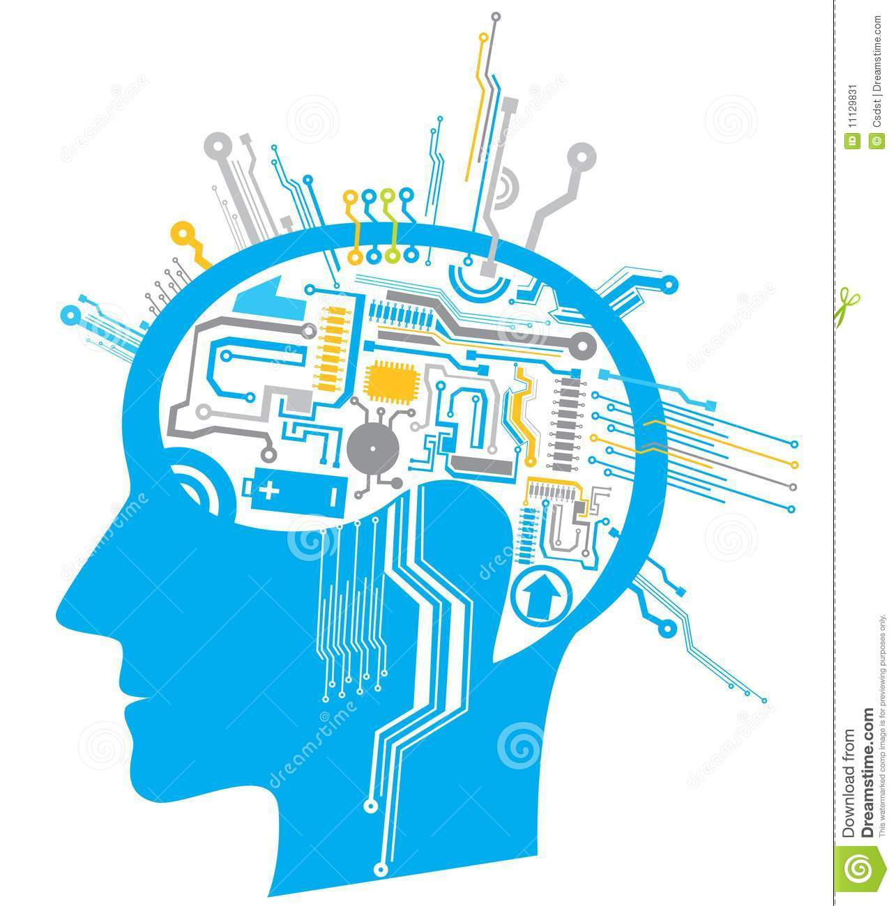 Circuit Brain Reusable : Brain circuit stock vector illustration of electronic