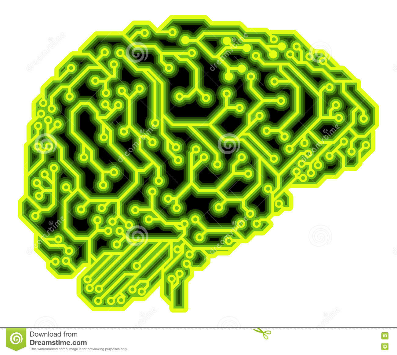 Circuit Brain Reusable : Brain circuit concept stock vector image of glowing