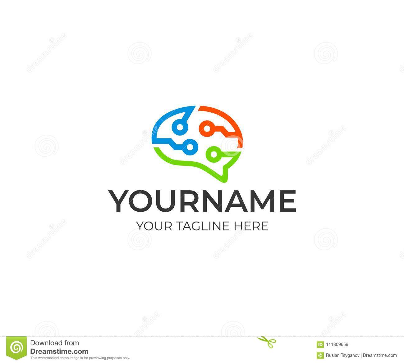 Brain circuit technology colorful logo template. Artificial intelligence and thinking brain concept vector design