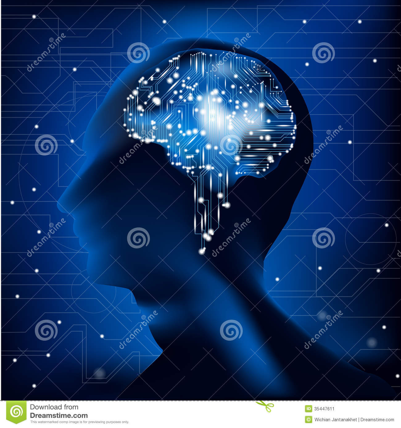Brain Circuit Stock Illustrations 4969 Board Background Raster Version Abstract 3d Cpu Vector Of With Illustration