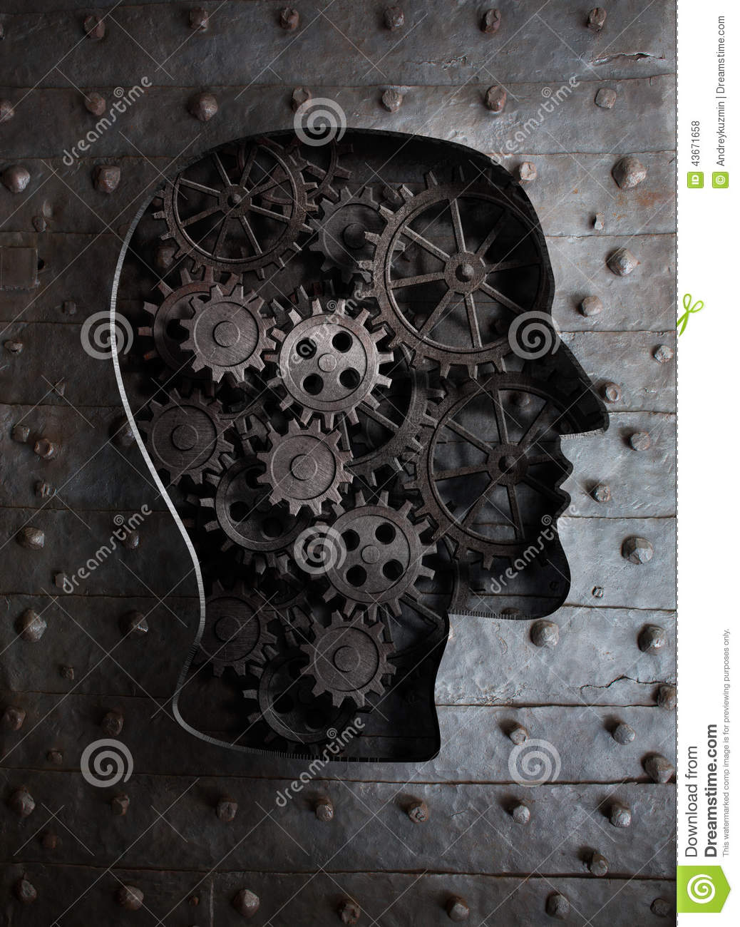 Brain concept metal gears and cogs in head stock for Concept metal
