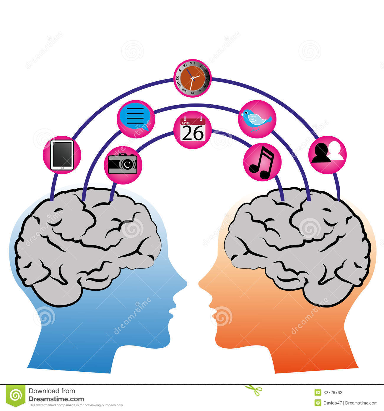 Two brain connection on white background with different social media ...