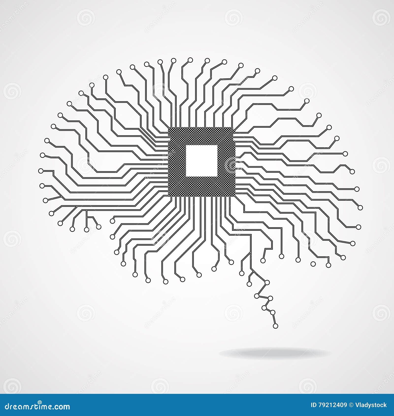 Circuito Vascular : Brain. cpu. circuit board stock vector. illustration of design