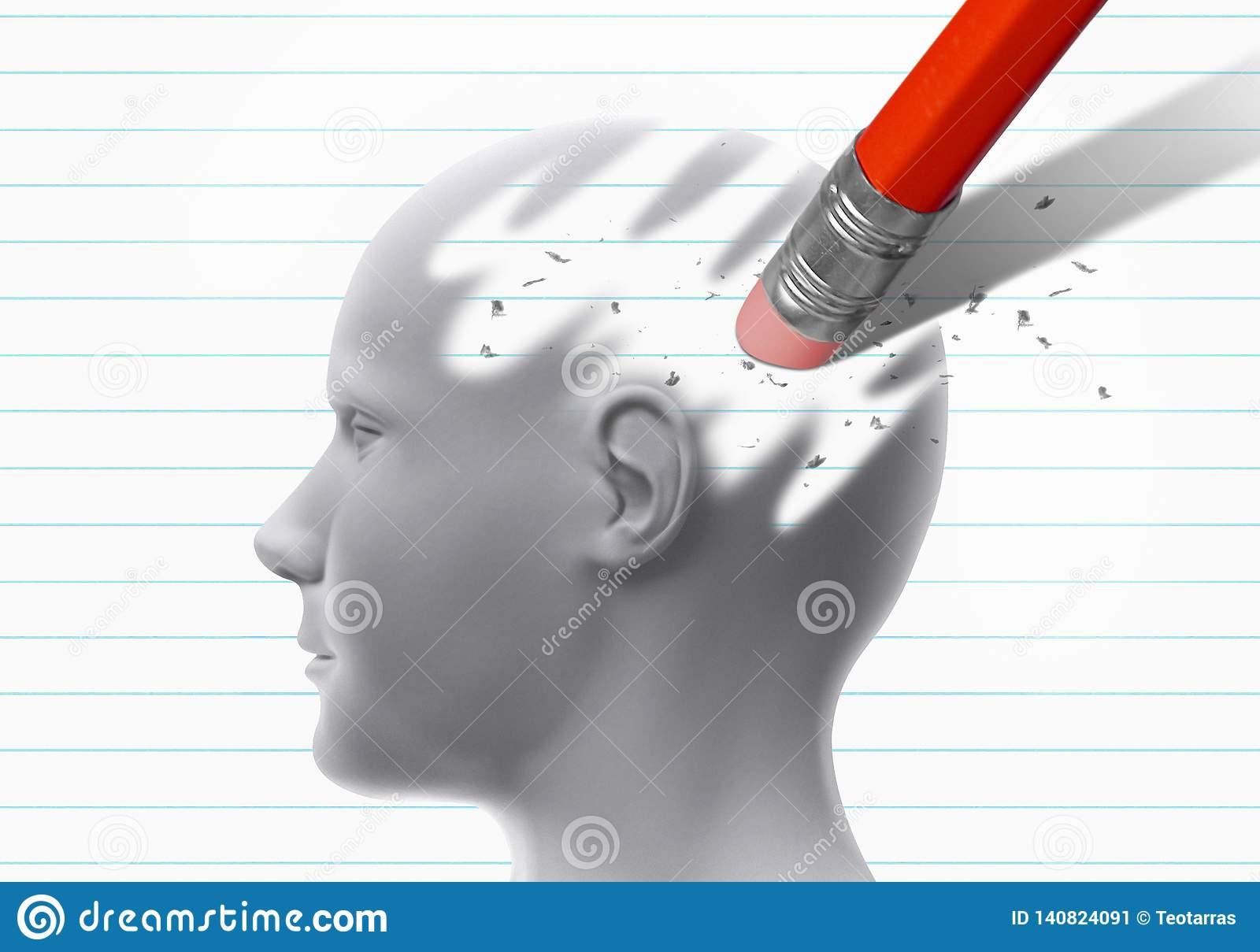 Brain erased by pencil eraser