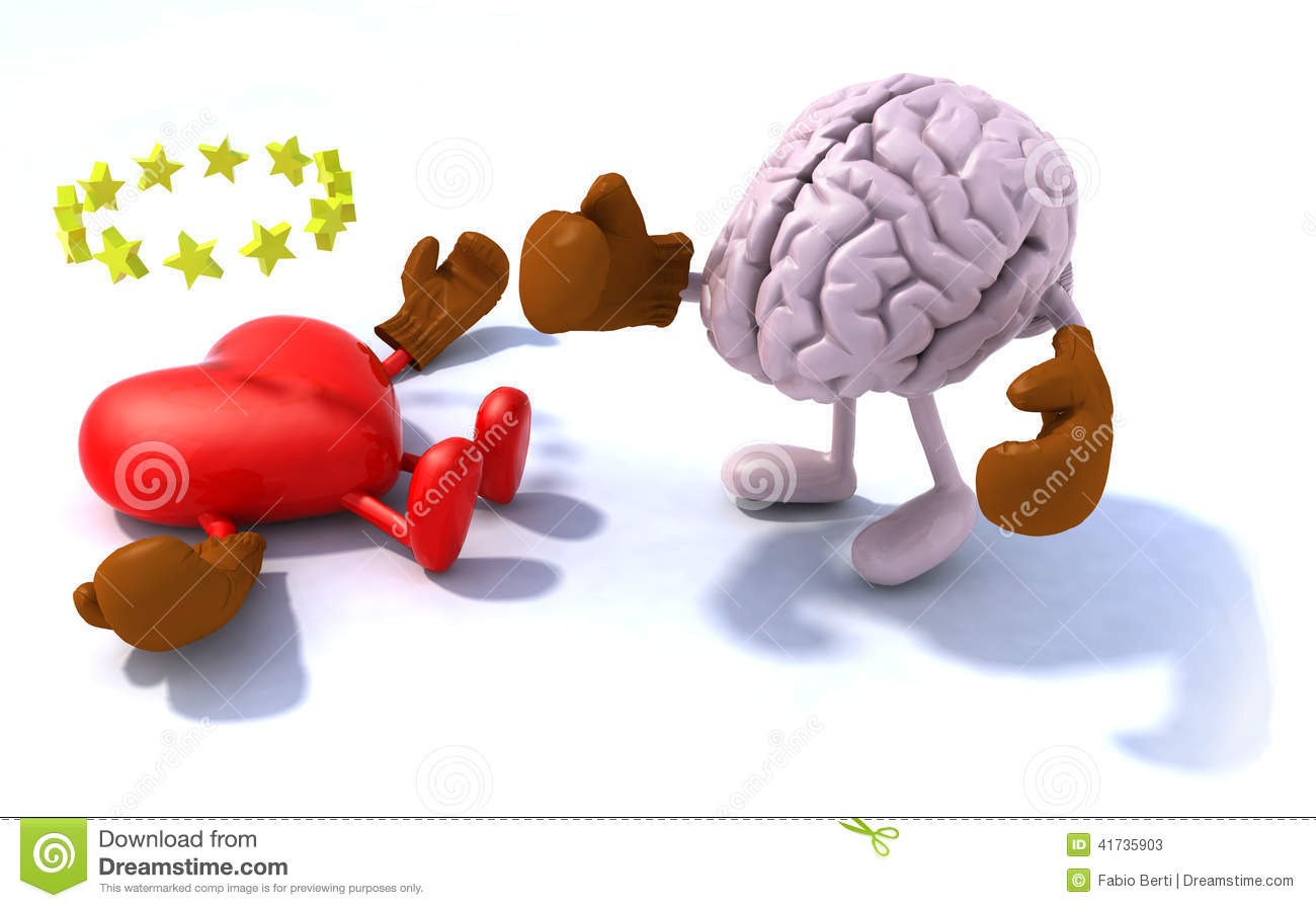 Brain fighting heart, 3d cartoon with boxing gloves.