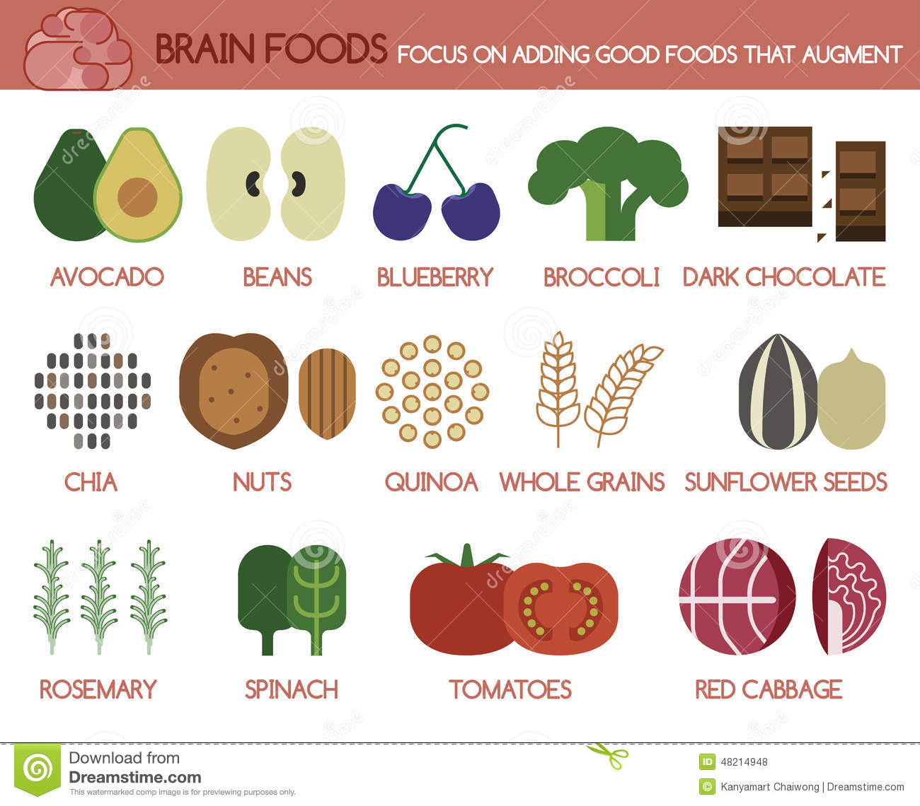 Brain Foods Focus On Adding Good Foods That Augment Stock Vector ...