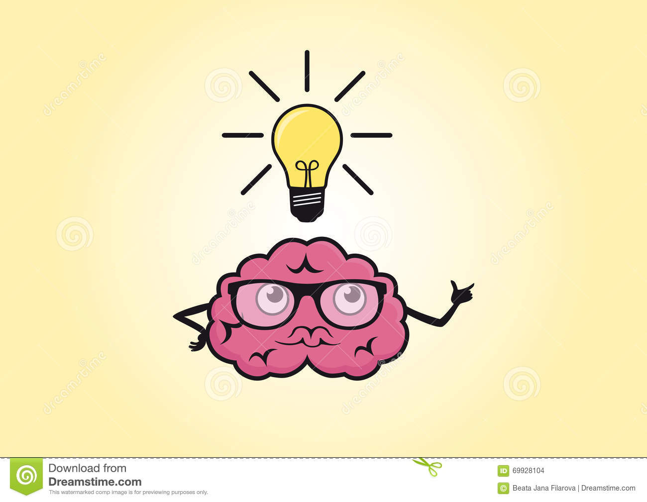 brain funny cartoon stock vector image 69928104