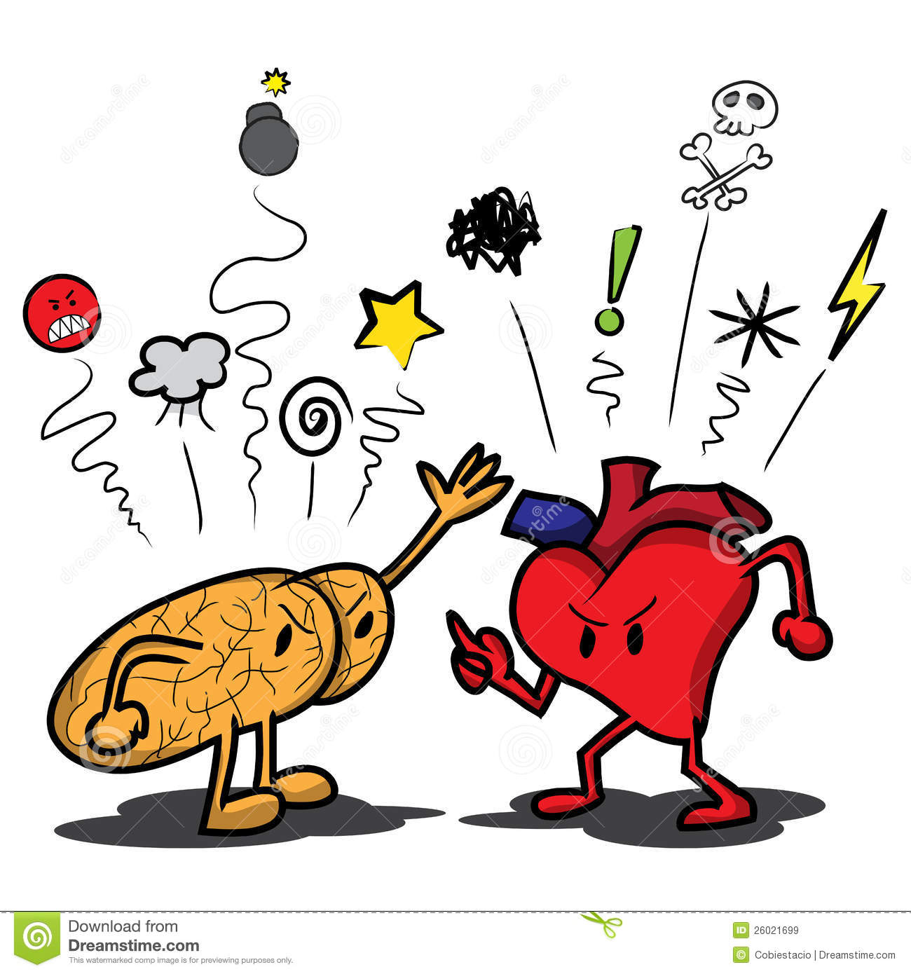 Image result for heart and brain fighting cartoon