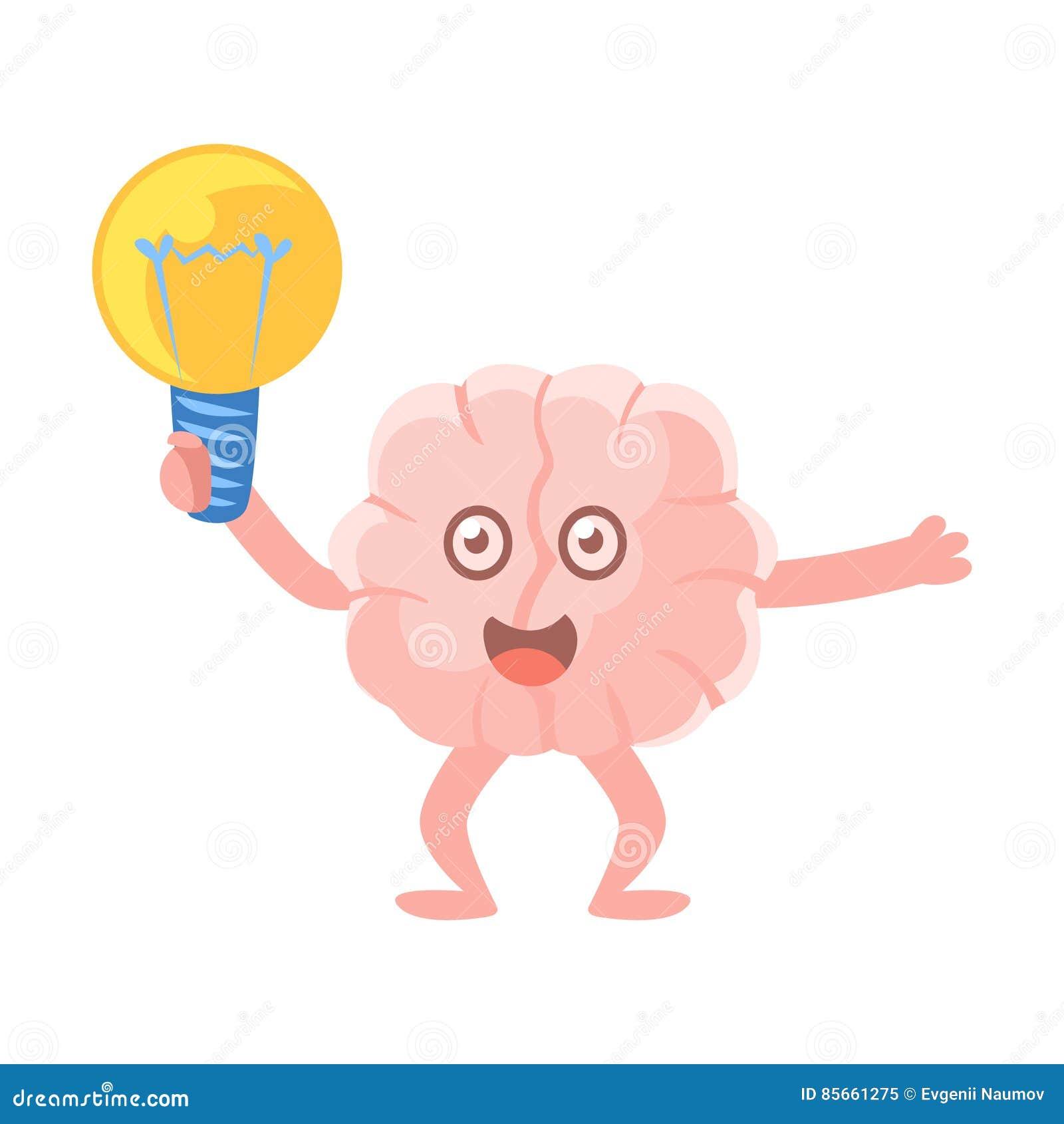 Brain Holding An Electric Bulb humanizado emocionado teniendo una idea, icono de Emoji del personaje de dibujos animados del órga