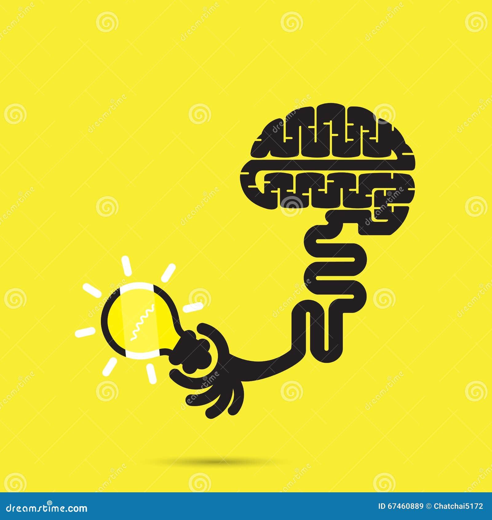 Brain Icon And Light Bulb Symbol Stock Vector Illustration Of
