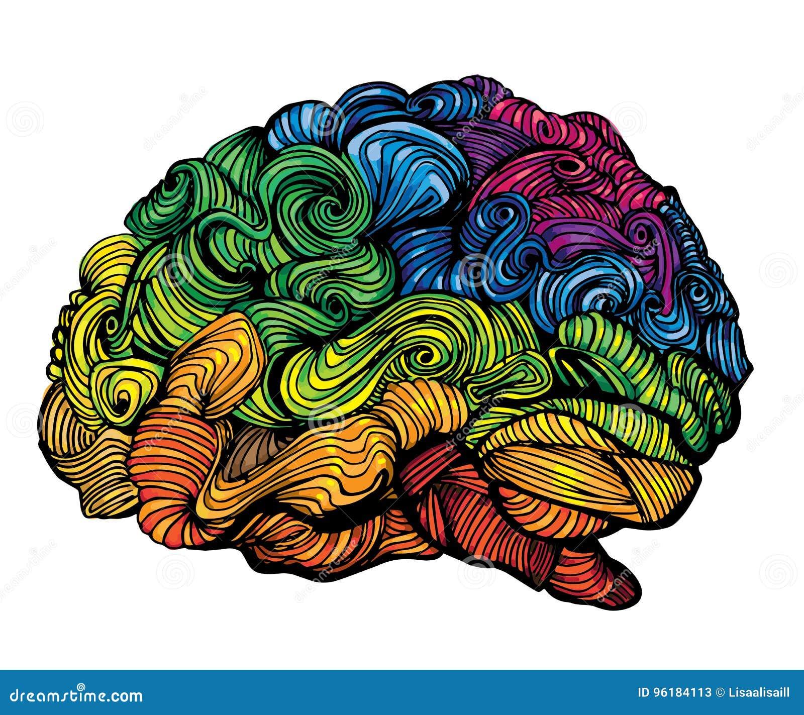 Brain Idea Illustration Conceito do vetor da garatuja sobre o cérebro humano Ilustração criativa com cérebro colorido e cinza