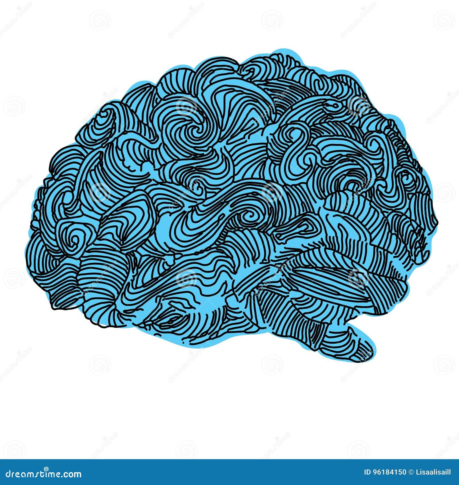Brain Idea Illustration Concepto del vector del garabato sobre cerebro humano Ejemplo creativo
