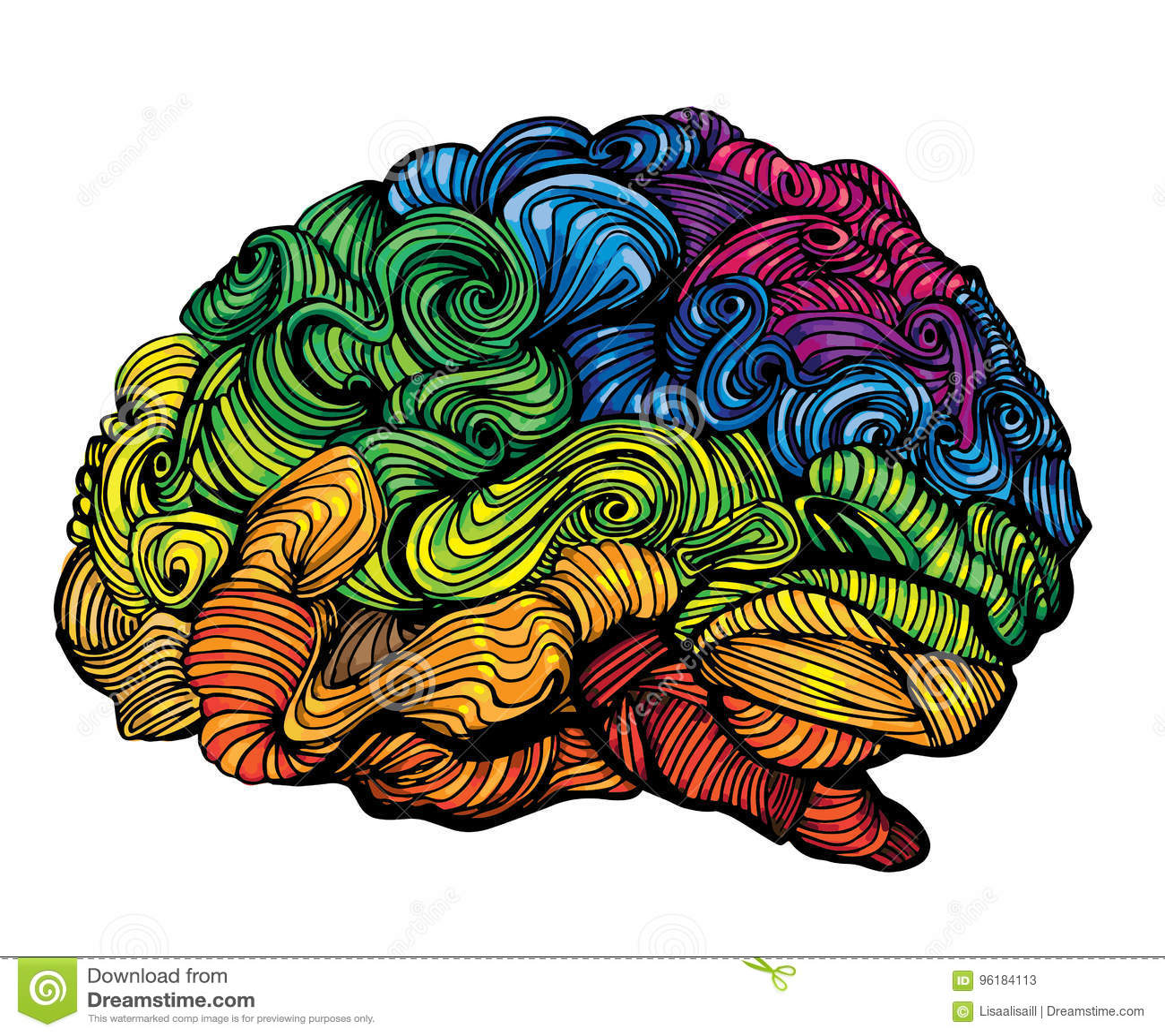 Brain Idea Illustration Klottervektorbegrepp om mänsklig hjärna Idérik illustration med den kulöra hjärnan och grå färger