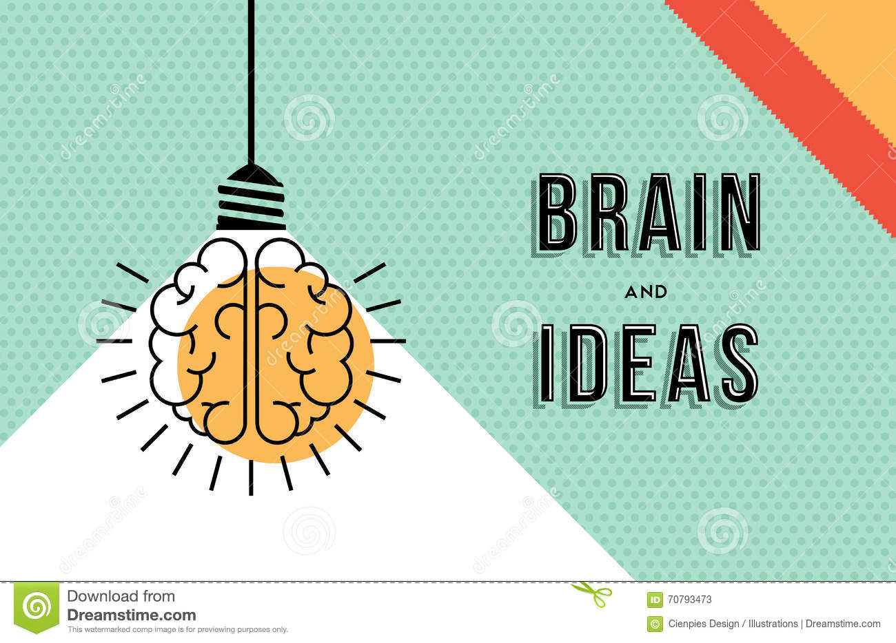 Line Design Ideas : Brain and ideas concept in modern line art design stock