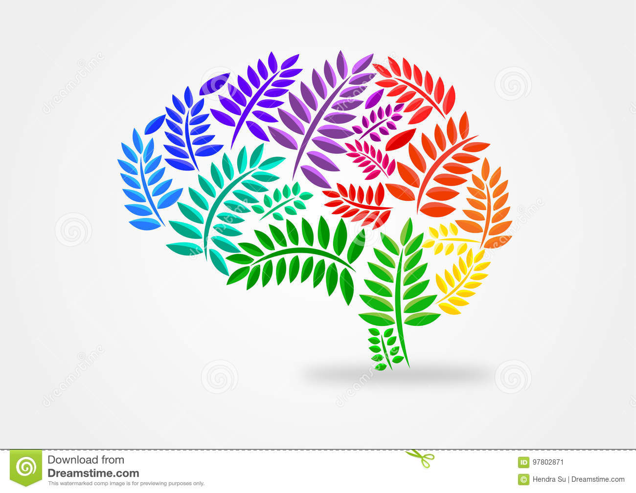 Brain illustration concept with leaves theme