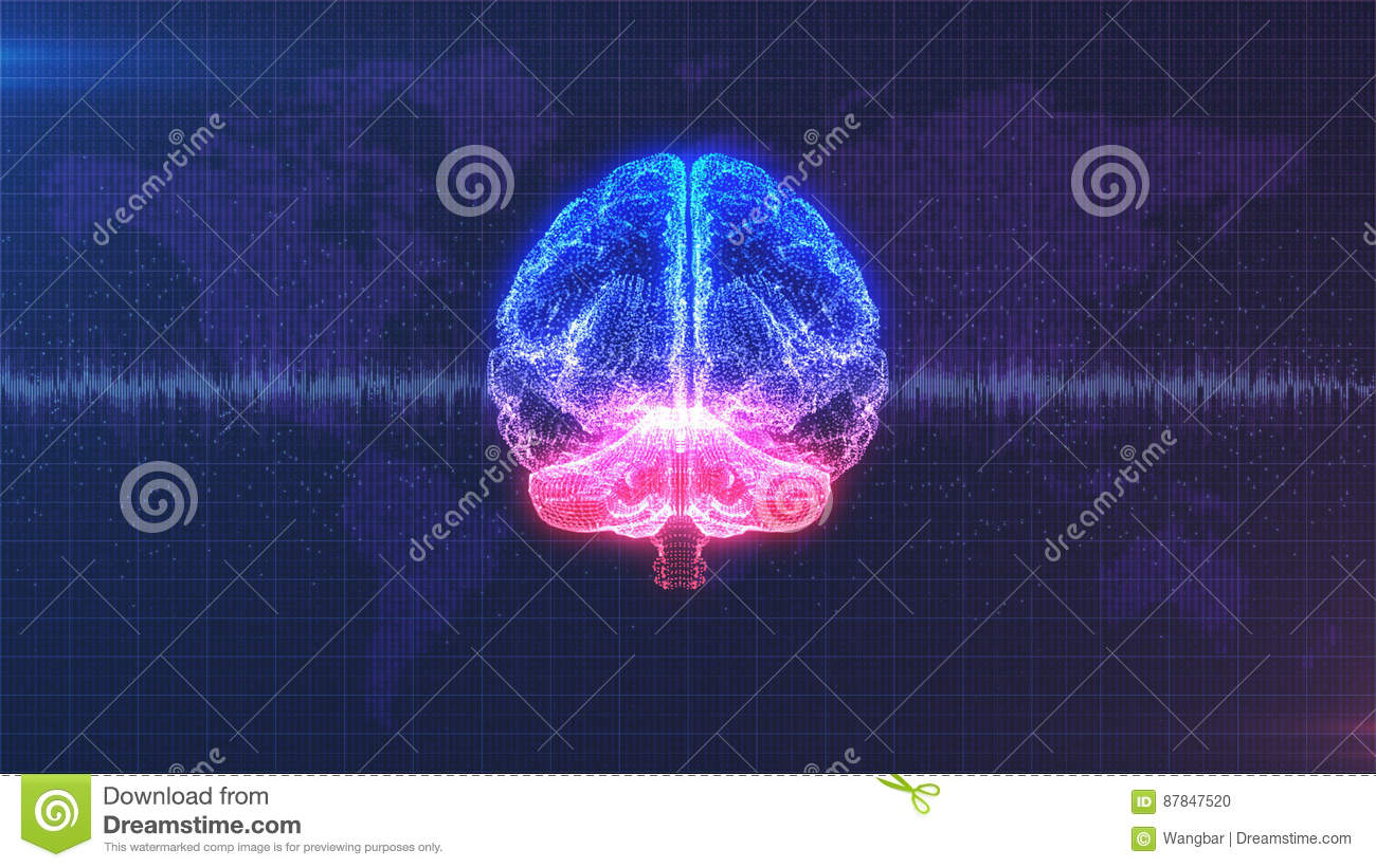 Brain image - digital pink, purple and blue brain with brainwave animation