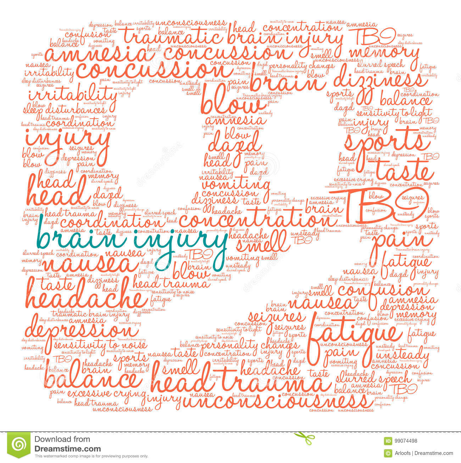 Brain Injury Word Cloud stock vector  Illustration of headache