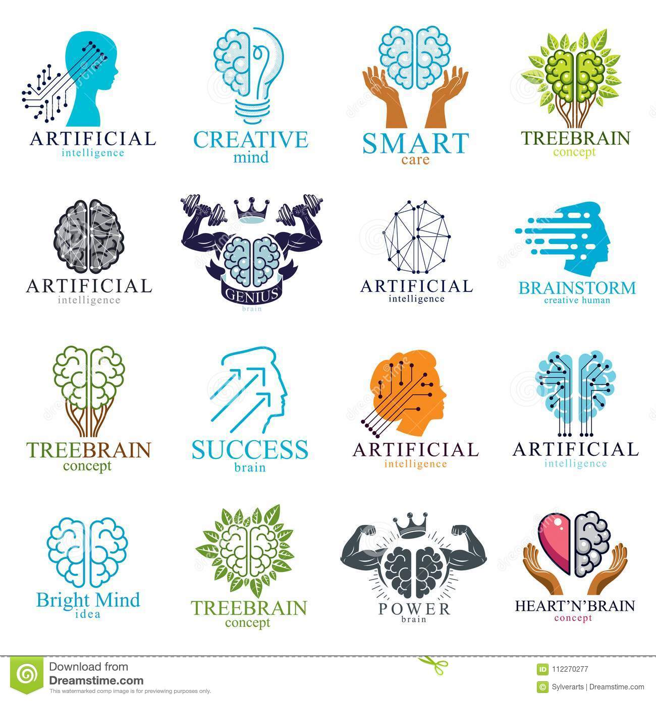 Brain and intelligence vector icons or logos concepts set. Artificial Intelligence, Bright Mind, Brain Training, Feelings soul