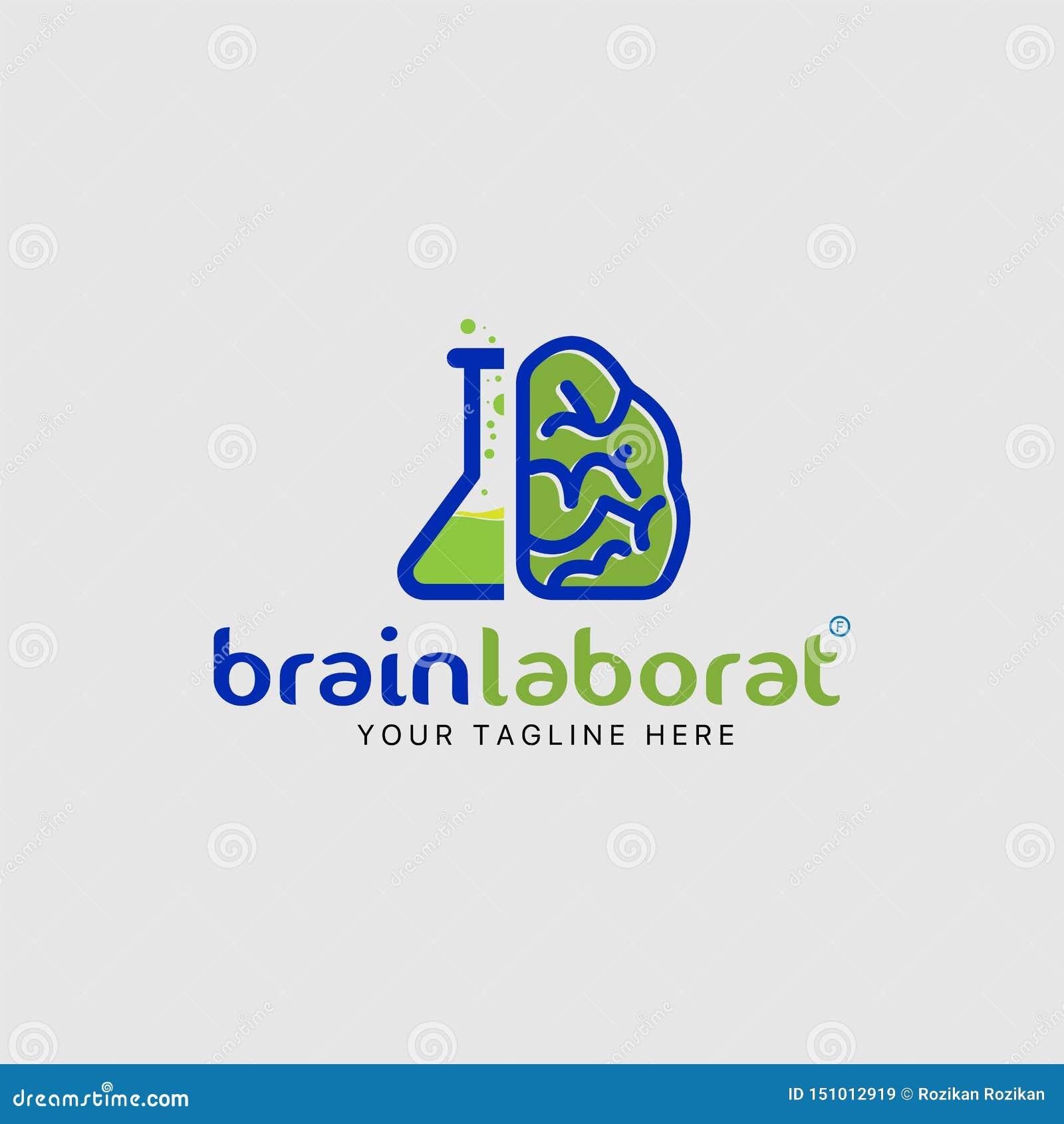Brain laboratory logo design template combination icon
