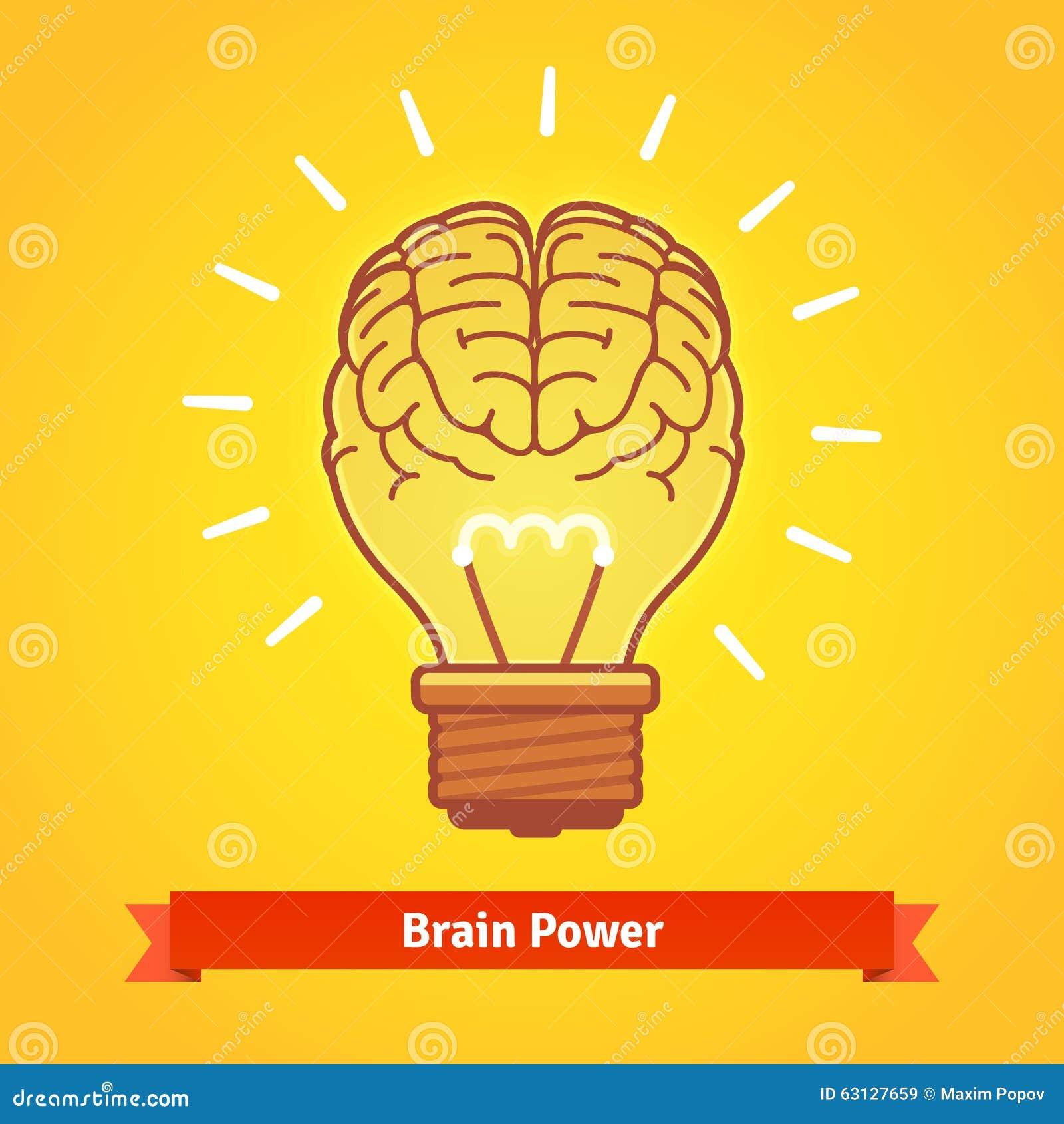 Brain Lights Up With Powerful Idea Like A Bulb Stock