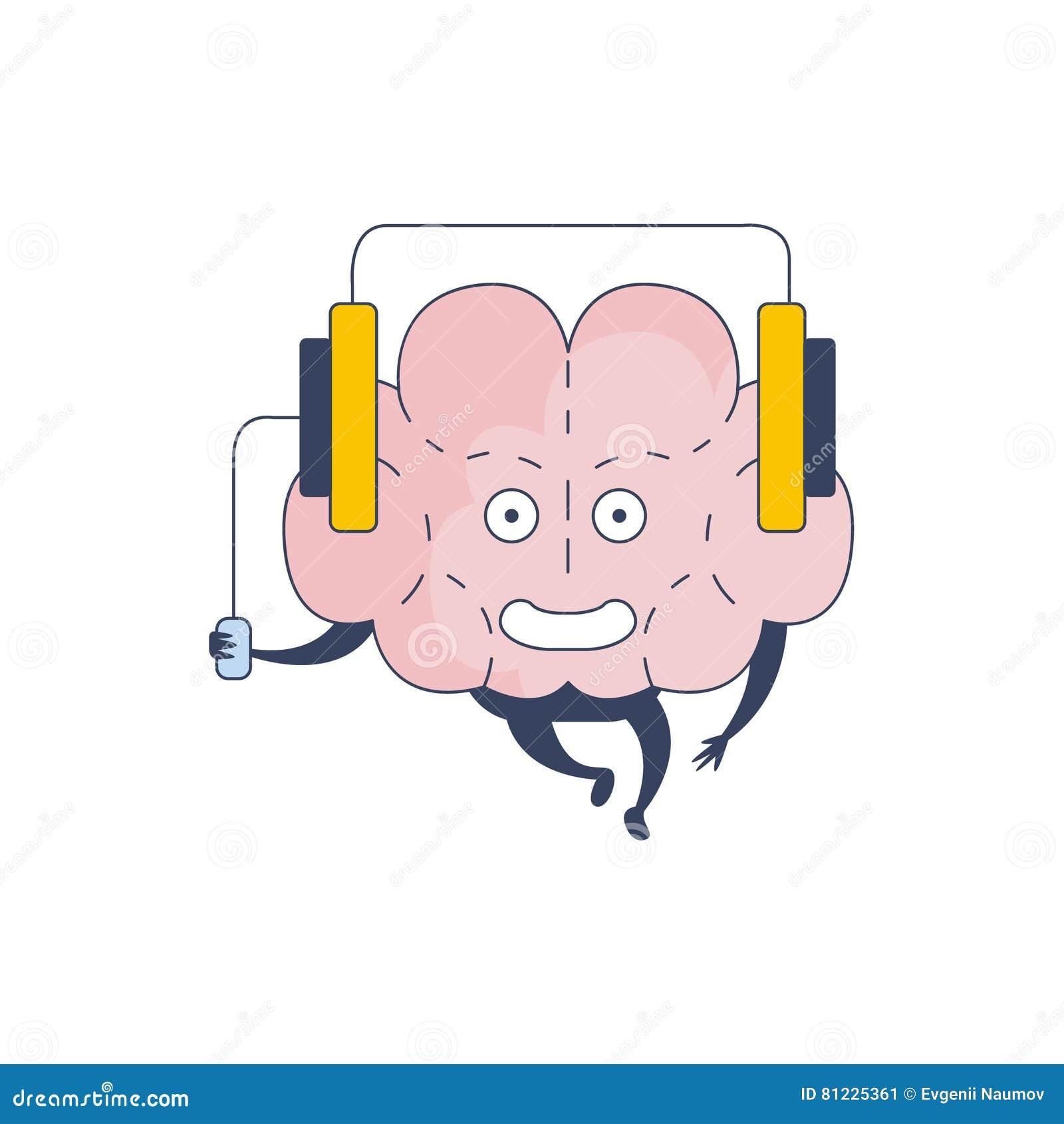 Brain Listening Music Comic Character som föreställer intellekt- och intellektuellaktiviteter av tecknad filmlägenheten för mänsk