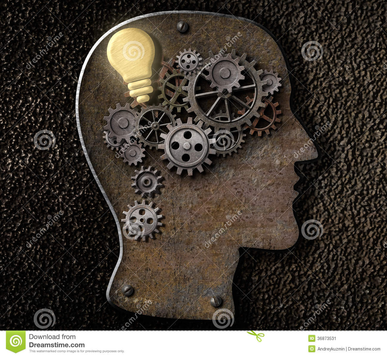 Brain mechanism made from metal cogs and gear with idea bulb